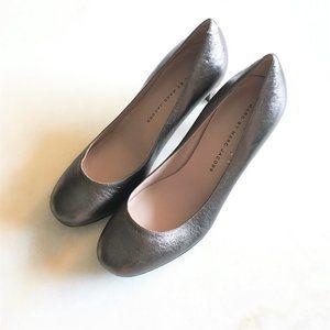 Marc Jacobs pewter metallic foil pumps high heel